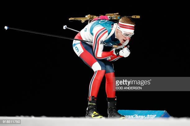 TOPSHOT Norway's Johannes Thingnes Boe competes in the men's 20km individual biathlon event during the Pyeongchang 2018 Winter Olympic Games on...