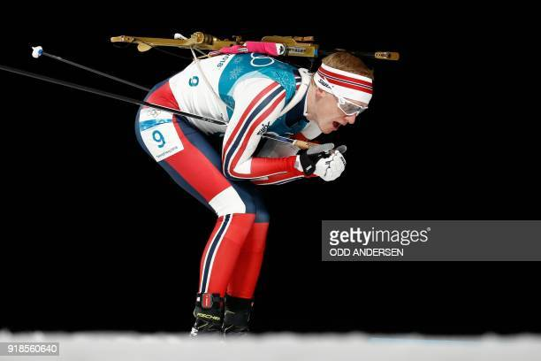Norway's Johannes Thingnes Boe competes in the men's 20km individual biathlon event during the Pyeongchang 2018 Winter Olympic Games on February 15...