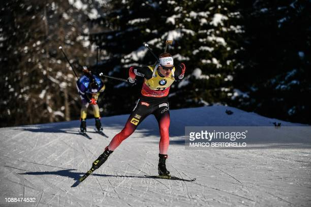 Norway's Johannes Thingnes Boe competes on his way to win the Men's 10 km sprint event of the IBU Biathlon World Cup in RasenAntholz Italian Alps on...