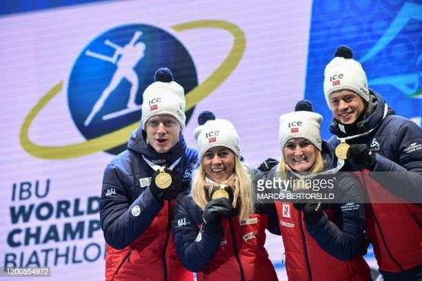 Norway's Johannes Thingnes Boe Norway's Tiril Eckhoff Norway's Marte Olsbu Roeiseland and Norway's Tarjei Boe pose with their golden medal on the...