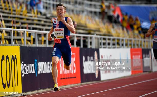 Norway's Karsten Warholm powers away from his competitors to win the men 400m event during the Diamond League Athletics Meeting at Stockholm stadium...