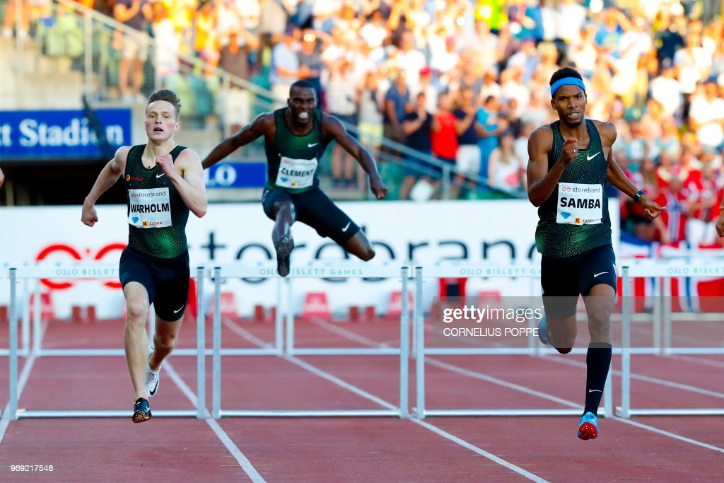 Norway's Karsten Warholm, US's Kerron Clement and Qatar's Abderrahman Samba compete in the Men's 400m Hurdles durng the IAAF Diamond League 2018 Bislett Games on June 7, 2018 at Bislett Stadium in Oslo, Norway. (Photo by Cornelius POPPE / NTB Scanpix / AFP) / Norway OUT