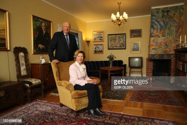 Norway's King Harald and Queen Sonja open Queen Sonja's childhood home at Maihaugen openair museum in Lillehammer Norway August 27 2018 The house was...