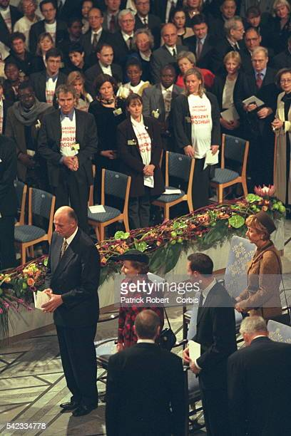Norway's King Harald, Queen Sonia, and Crown Prince Haakon attend the Nobel Prize award ceremony at which Medecins Sans Frontieres , a...