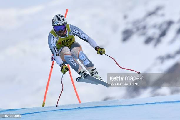 Norway's Kjetil Jansrud competes in the Downhill race of the men's Alpine Combined event at the FIS Alpine Skiing World Cup in Wengen on January 17...
