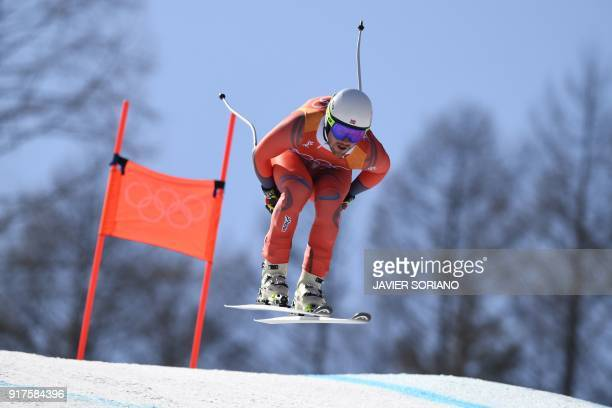 Norway's Kjetil Jansrud competes in the Men's Alpine Combined Downhill at the Jeongseon Alpine Center during the Pyeongchang 2018 Winter Olympic...