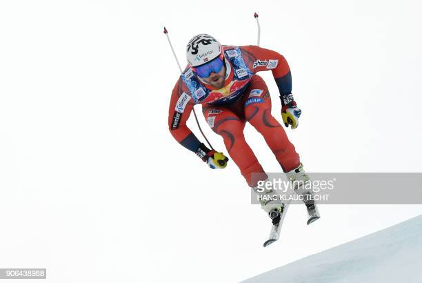Norway's Kjetil Jansrud performs during a training session of the FIS Alpine World Cup Men's downhill event in Kitzbuehel Austria on January 18 2018...