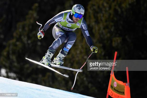 Norway's Kjetil Jansrud takes part in the training run for the men's downhill race of the FIS Alpine Ski World Cup Finals at SoldeuEl Tarter in...