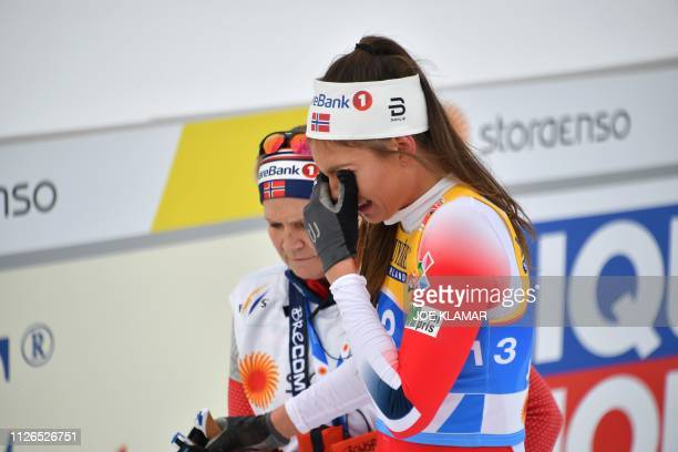 Norway's Kristine Stavaas Skistad cries after falling down in the semi-final sprint of the Ladies' cross-country event at the FIS Nordic World Ski...