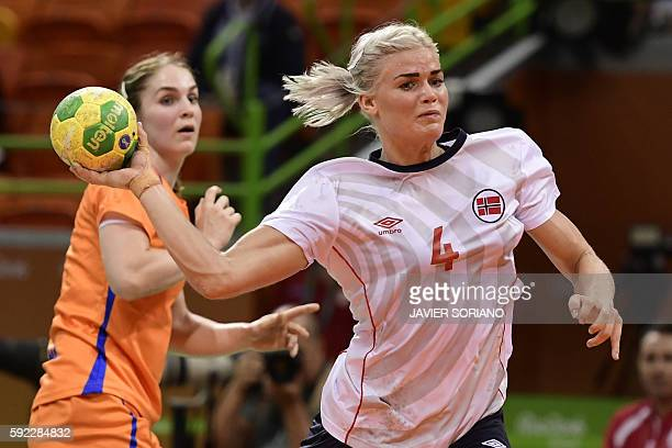 Norway's left back Veronica Kristiansen shoots during the women's Bronze Medal handball match Netherlands vs Norway for the Rio 2016 Olympics Games...