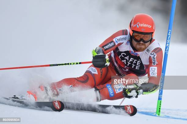 Norway's Leif Kristian NestvoldHaugen competes in the FIS Alpine World Cup Men's Giant Slalom on December 17 2017 in Alta Badia Italian Alps / AFP...