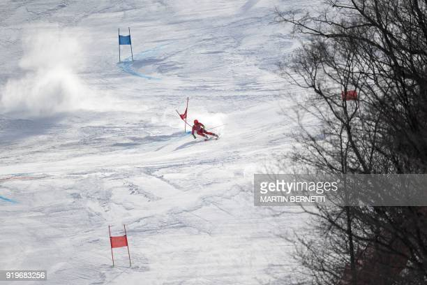 TOPSHOT Norway's Leif Kristian NestvoldHaugen competes in the Men's Giant Slalom at the Jeongseon Alpine Center during the Pyeongchang 2018 Winter...