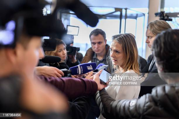Norway's Linda Hofstad Helleland, a member of the World Anti-Doping Agency foundation board, answers journalists following a meeting of WADA's...