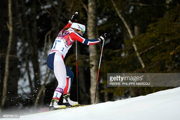 Norway's Maiken Caspersen Falla competes in the Women's CrossCountry Skiing Individual Sprint Free Quarterfinals at the Laura CrossCountry Ski and...