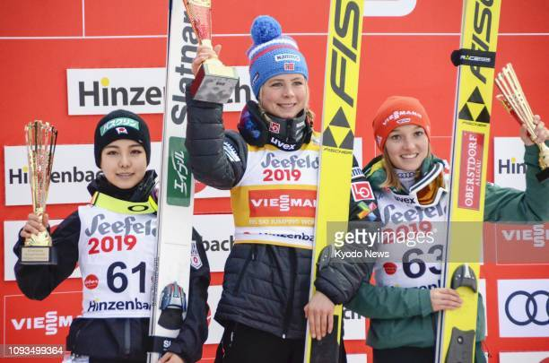 Norway's Maren Lundby claims her fifth straight World Cup victory in the women's World Cup normal hill individual competition in Hinzenbach Austria...