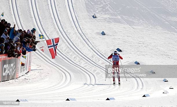 Norway's Marit Bjoergen competes during the FIS CrossCountry World Cup Ladies 10 km Classic Mass Start in Falun Sweden on March 23 2013 Bjoergen won...