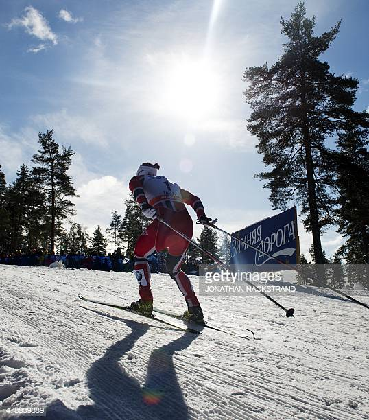 Norway's Marit Bjoergen competes during the FIS CrossCountry World Cup Ladies Skiathlon 75 classic and 75 km free competition in Falun Sweden on...