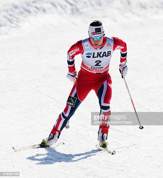 Norway's Marit Bjoergen competes during the FIS CrossCountry World Cup Ladies 10 km F Pursuit in Falun on March 16 2014 Norway's Therese Johaug won...