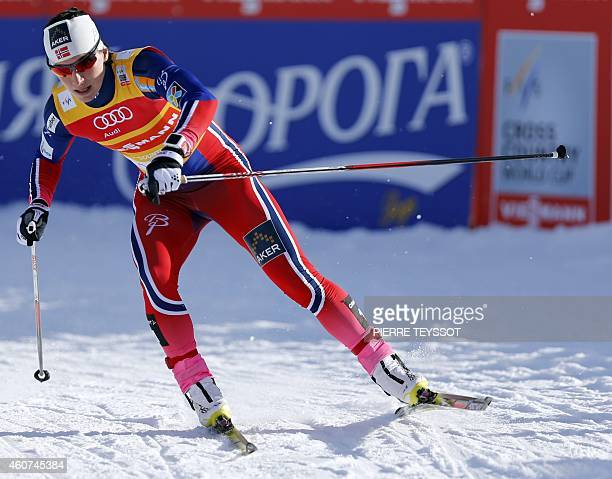 Norway's Marit Bjoergen competes in the final race of the women's 13 km sprint freestyle event of the Nordic skiing FIS crosscountry World Cup on...