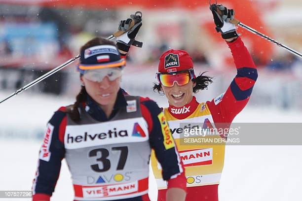 Norway's Marit Bjoergen reacts on December 11 2010 after winning the women's nordic skiing World Cup 10km classic individual race in Davos Bjoergen...