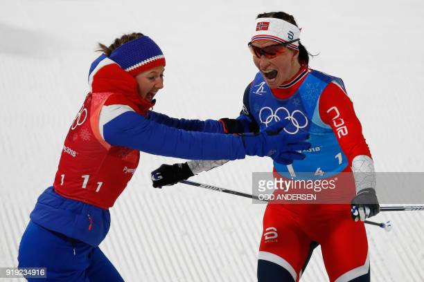 Norway's Marit Bjorgen and Norway's Ingvild Flugstad Oestberg celebrate wining the women's 4x5km classic free style cross country relay at the...