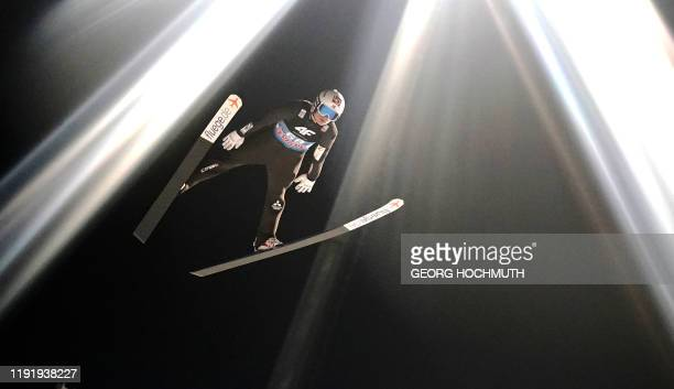 Norway's Marius Lindvik competes during the qualification jump at the fourth stage of the Four Hills Ski Jumping tournament in Bischofshofen Austria...