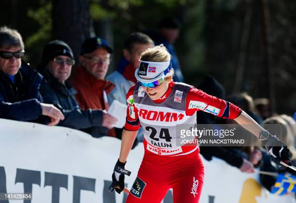 Norway's Marthe Kristoffersen competes during the FIS CrossCountry World Cup Prologue women 25 km Free Individual in Falun on March 16 2012 AFP...