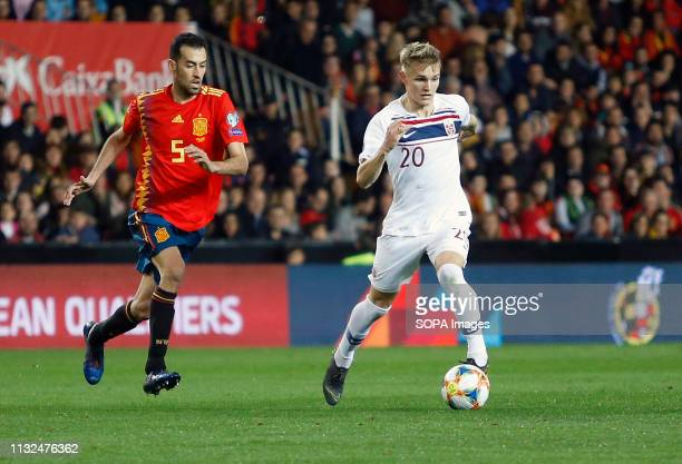 Norway's Martin Odegaard seen in action during the Qualifiers Group B to Euro 2020 football match between Spain and Norway in Valencia Spain Spain...