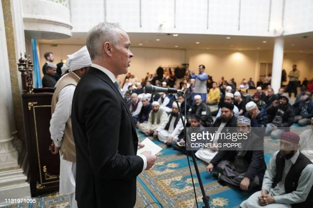 Norway's Minister of Education and Integration Jan Tore Sanner gives a speech at Central Jamaate Ahle Sunnat mosque in Oslo on March 22 to pay...