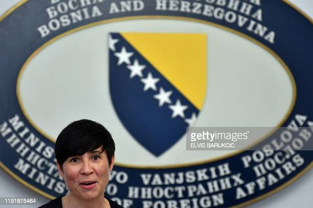 Norway's Minister of Foreign Affairs Ine Marie Eriksen Søreide speaks during a press conference after a bilateral meeting with her Bosnian...