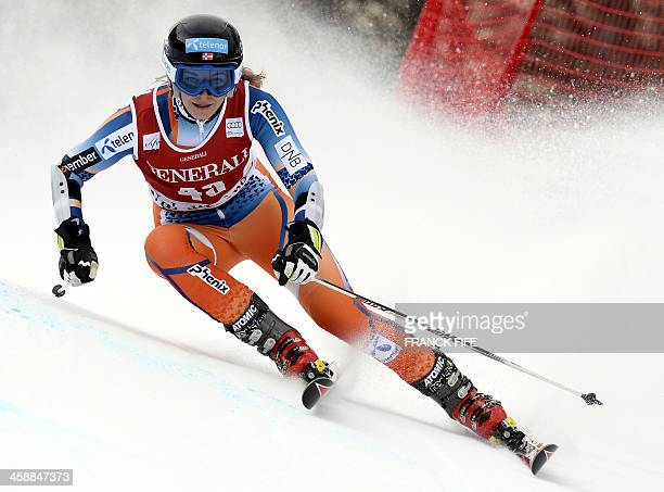 Norway's Mona Loeseth competes during the second run of the Women's giant slalom at the FIS Ski World Cup on December 22 2013 in Val d'Isere in the...