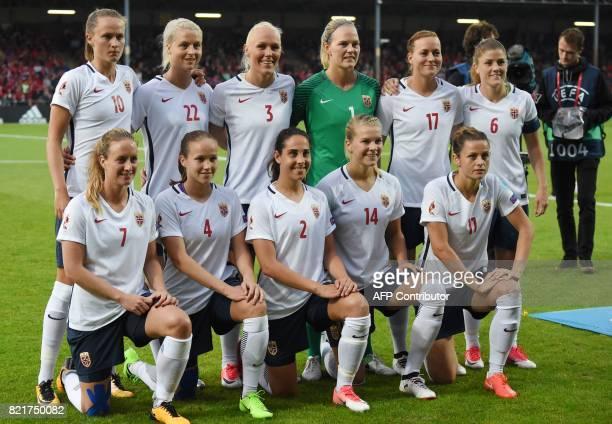 Norway's national football team players Ingrid Schjelderup Guro Reiten Ingrid Wold Ada Hegerberg Nora Holstad Berge Caroline Graham Hansen Ingrid...