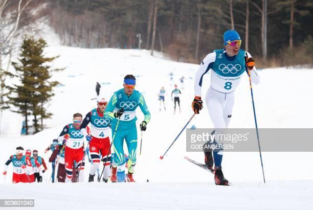 Norway's Niklas Dyrhaug Norway's Martin Johnsrud Sundby, Kazakhstan's Alexey Poltoranin and Finland's Iivo Niskanen compete during the men's 50km...