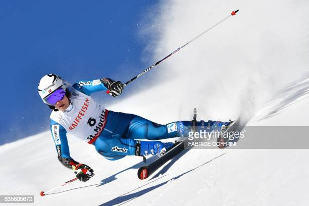 CORRECTION Norway's Nina Loeseth competes in the women's giant slalom race at the 2017 FIS Alpine World Ski Championships in St Moritz on February 16...