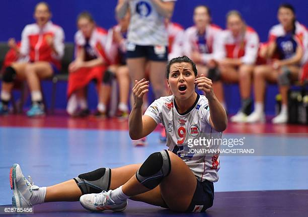 Norway's Nora Mork reacts during the Women's European Handball Championship Group D match between Norway and Russia in Helsingborg Sweden on December...