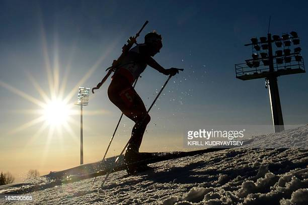 Norway's Ole Einar Bjoerndalen competes during the Men's 20 km Individual race of the IBU World Cup Biathlon at Laura Cross Country and Biathlon...