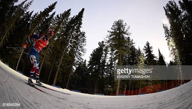 Norways Ole Einar Bjoerndalen competes in the men's 10km sprint race of the IBU Biathlon World Cup in KhantyMansiysk Russia on March 18 2016 AFP...