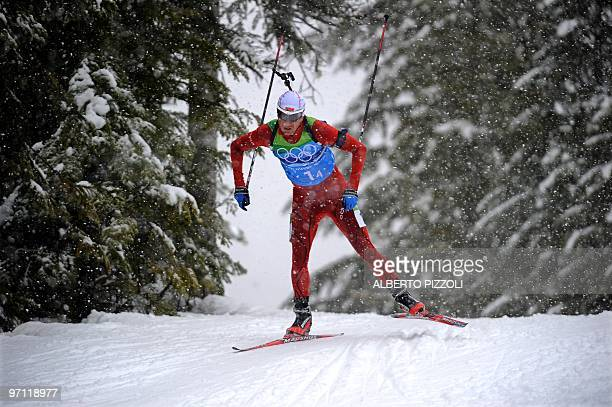 Norway's Ole Einar Bjoerndalen competes in the men's biathlon 4x7.5km relay at Whistler Olympic Park on February 26, 2010 during the Vancouver Winter...