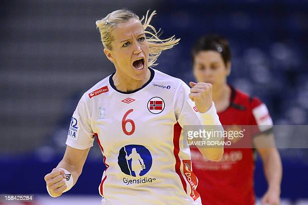 Norway's pivot Heidi Loke reacts after scoring a goal during the 2012 EHF European Women's Handball Championship final match between Montenegro and...