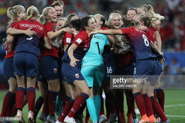 Norway's players celebrate their victory at the end of the France 2019 Women's World Cup round of sixteen football match between Norway and Australia...