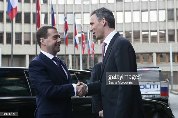 Norway's Prime Minister Jens Stoltenberg receives Russian President Dmitry Medvedev at his residence on April 2010 in Oslo Norway Russian president...