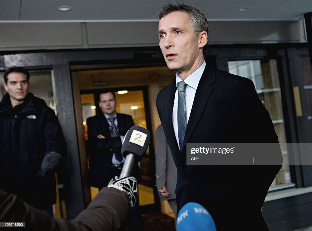 Norway's Prime Minister Jens Stoltenberg speaks during a press conference on Januaray 19, 2013, after his visit at the drop-in center in Bergen, Norway for relatives of the Statoil-employees taken hostages in Algeria. Two Norwegians have been found alive but six others remain unaccounted for in the hostage crisis at a gas field in Algeria, Norway's Statoil said Saturday.