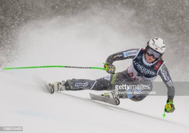 Norway's Ragnhild Mowinckel competes during the Women's Combined Downhill event of the 2019 FIS Alpine Ski World Championships at the National Arena...