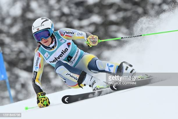 Norway's Ragnhild Mowinckel competes in the first run of the Women's Giant Slalom event during the FIS Alpine ski World Cup in Lenzerheide, on March...