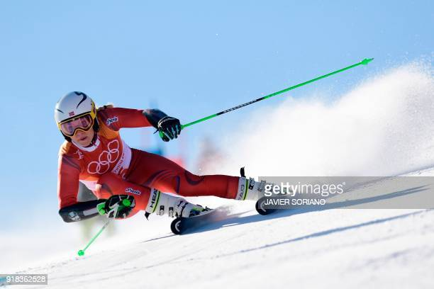TOPSHOT Norway's Ragnhild Mowinckel competes in the Women's Giant Slalom at the Yongpyong Alpine Centre during the Pyeongchang 2018 Winter Olympic...