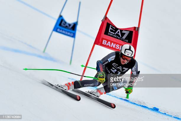 Norway's Rasmus Windingstad competes during the men's SuperG combined event of the FIS Alpine Ski World Cup in Bansko on February 22 2019