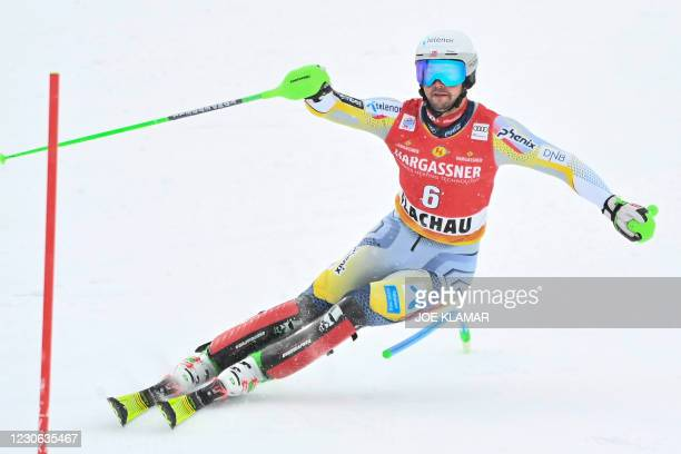 Norway's Sebastian Foss Solevaag competes to win the second run of the slalom event during the FIS Men's Alpine Ski World Cup in Flachau, Austria, on...