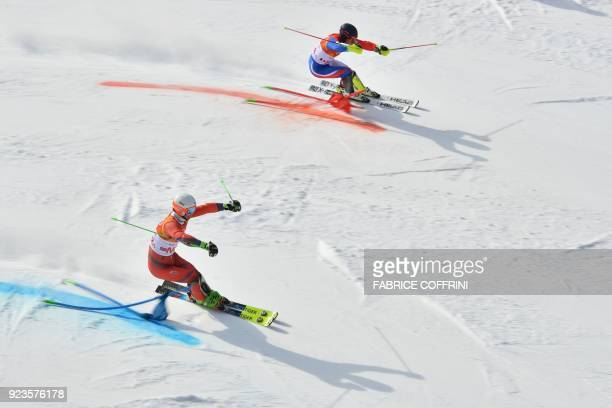 TOPSHOT Norway's Sebastian FossSolevaag and France's Alexis Pinturault compete in the Alpine Skiing Team Event small final at the Jeongseon Alpine...