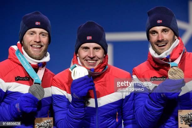 Norway's silver medallist Martin Johnsrud Sundby Norway's gold medallist Simen Hegstad Krueger and Norway's bronze medallist Hans Christer Holund...