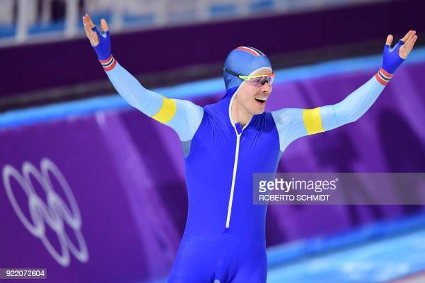 Norway's Simen Spieler Nilsen celebrates his team's gold in the men's team pursuit final A speed skating event during the Pyeongchang 2018 Winter...